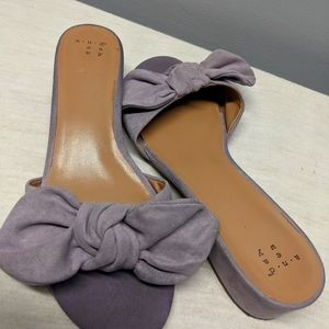 A.N.DEAWY Heeled Slip-on Sandals with Bow Purple